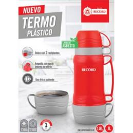 Termo Plastico 1L Ampolla de Vidrio Uso Frio Caliente, 2108000001 Record