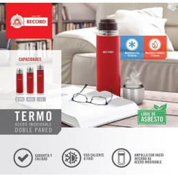 Termo Bala 1L Acero Inoxidable Doble Pared Uso Frio Calor, 2108000006 Record