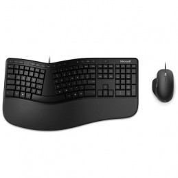 Kit de Teclado y Mouse USB Microsoft Ergonomic Desktop for Business, Alámbrico Negro
