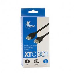 Cable USB Xtech XTC-301 macho A a hembra A 1.8m USB2.0