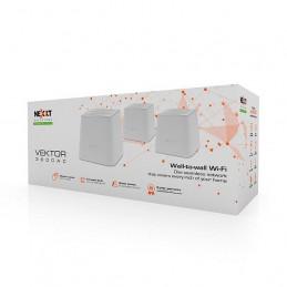 Sistema Wifi Mesh Nexxt AEFME904U1 Wifi 3 Nodos 372m2