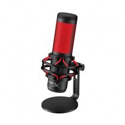 Micrófono Kingston HyperX QuadCast, anti-vibración, sensor, USB, Negro/Rojo