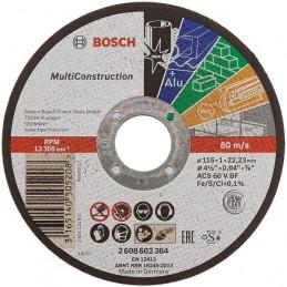"""Disco Corte 4 1/2"""" 115x1.0mm Rapido Multiconstruction, Bosch 2608602384"""