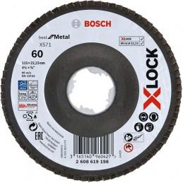 Disco Flap X571 Best for Metal X-LOCK 115mm G60 Curvo Fibra de Vidrio, Bosch 2608619198