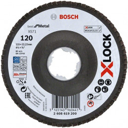 Disco Flap X571 Best for Metal X-LOCK 115mm G120 Curvo Fibra de Vidrio, Bosch 2608619200