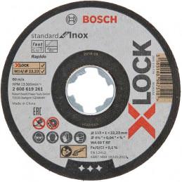 Disco de Corte Standard for Inox X-LOCK 115mm x1x22.23mm Centro Plano, Bosch 2608619261