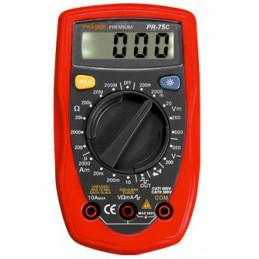 Multitester Digital Prasek PR-75C, ACDC 500V 10A Voltaje Resistencia Diodo Continuidad Temperatura