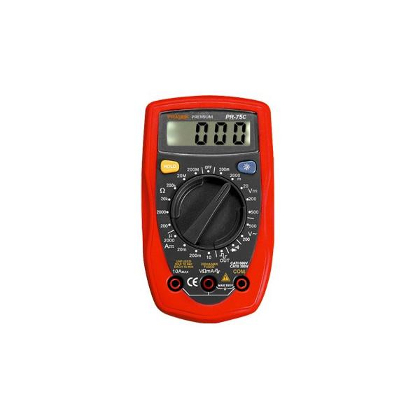 Multitester Digital Prasek Premium PR-75C, ACDC 500V 10A Voltaje Resistencia Diodo Continuidad Temperatura