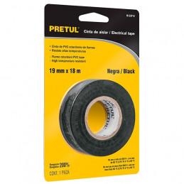 Cinta Aislantes Negro 18m x 19 mm, Adhesivo acrilico Espesor 0.13mm, Flexible en Blister, M-33P-B 20523 Pretul