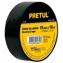 Cinta Aislantes Negro 18m x 19 mm, Adhesivo acrilico Espesor 0.13mm, Flexible, M-33P 20522 Pretul