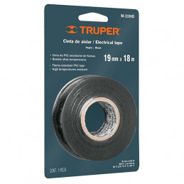 Cinta Aislantes Negro 18m x 19 mm, Adhesivo acrilico Espesor 0.15mm, Flexible en Blister, M-33NB 12499 Truper