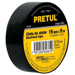 Cinta Aislantes Negro 9m x 19 mm, Adhesivo acrilico Espesor 0.13mm, Flexible, M-22P 20521 Pretul