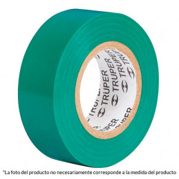 Cinta Aislantes Verde 18m x 19 mm, Adhesivo acrilico Espesor 0.18mm, Flexible Encogible, M-33V 12502 Truper