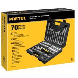 """Juego de herramientas 73 Piezas con Estuche de Plastico, Encastre 1/4 """" y 3/8"""", SET-73 22981 Pretul"""