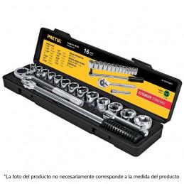 """Juego de dados Mixto 16 Piezas Milimetrico con Estuche de Plastico, Encastre 1/2"""", JD-1/2X17mm-P 21174 Pretul"""