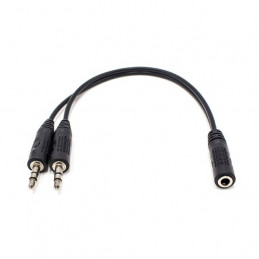 Conectores para audio: 2 machos de 3.5mm a un conector hembra de 3.5mm