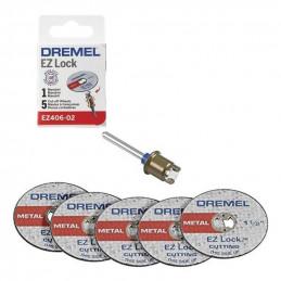 "Kit de Discos de Corte EZ-LOCK Adaptador + 5Discos 1-1/2"", Dremel 2615E406AD"