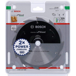 Discos de sierra Standard 165mm x20x1.5mm D12 para Madera Wood, Bosch 2608837684