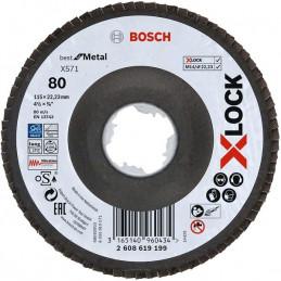 Disco Flap X571 X-LOCK G80 Curvo Fibra de Vidrio, Bosch 2608619199