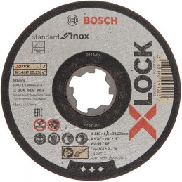 Disco de Corte Standard X-LOCK para Inox Centro Plano, Bosch 2608619362