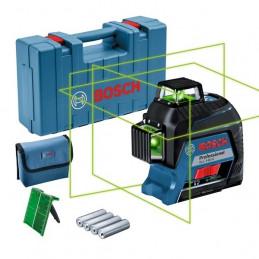 Nivel de Lineas Laser GLL 3-80G 30m con Receptor120M 3Lineas360 Verde, Bosch 0601063Y00