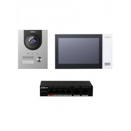 Kit Video Portero IP FHD para Departamento, Hasta 5 Monitores Inc Switch Poe, Dahua KTP01-S