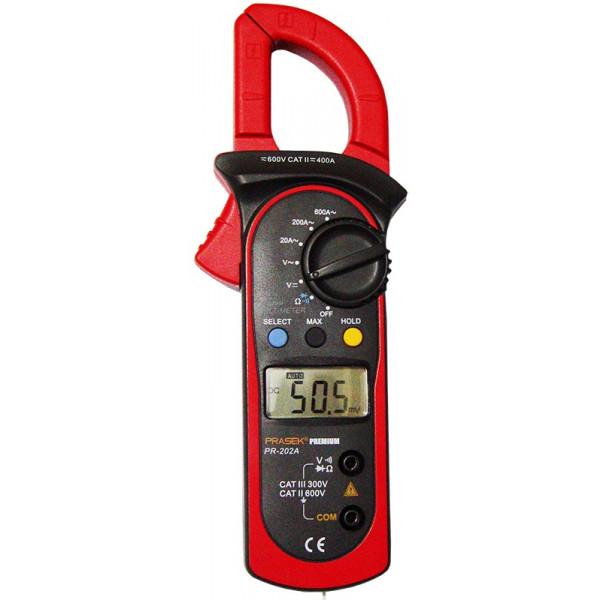 Pinza Amperimetrica Digital Prasek Premium PR-202A, ACDC600V 600A Voltaje Amperaje Resistencia Temperatura Diodo Continuidad