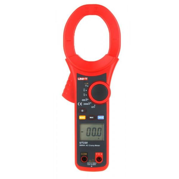 Pinza Amperimetrica Digital UNI-T UT-220, 2000A Para medir Voltaje Amperaje Continuidad Diodo AutoRango