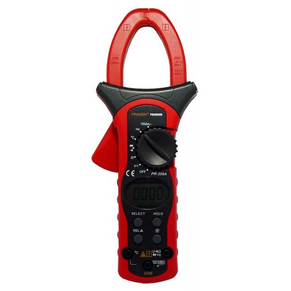 Pinza Amperimetrica Digital Prasek Premium PR-206A, ACDC600V 1000A Voltaje Amperaje Resistencia Temperatura Diodo Continuidad