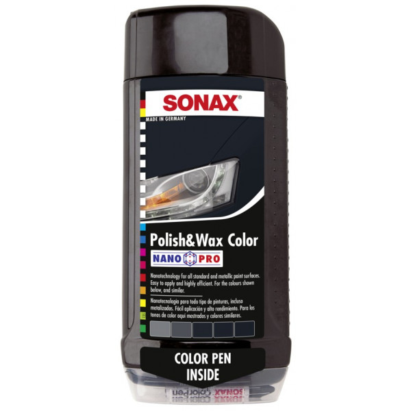 Cera Polish & Wax Color Negro con Nano Pro, Incluye Color Pen, Limpia abrillanta y protege, 500 ml, 296100 SONAX